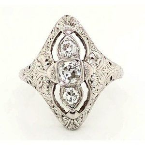 3 Stone Ring Old Miner Antique Style 1.75 Carats F